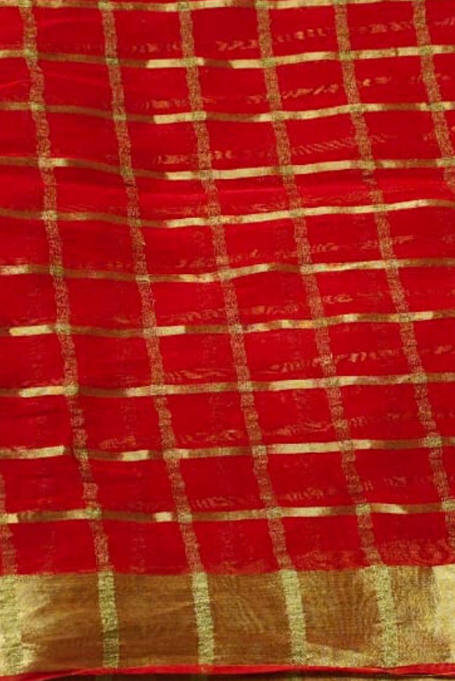 Orangish Red Jari Border Georgette Fabric
