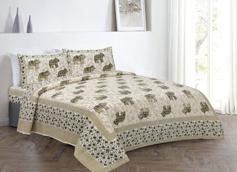 Cream Elephant Print Double Cotton Bed Sheet