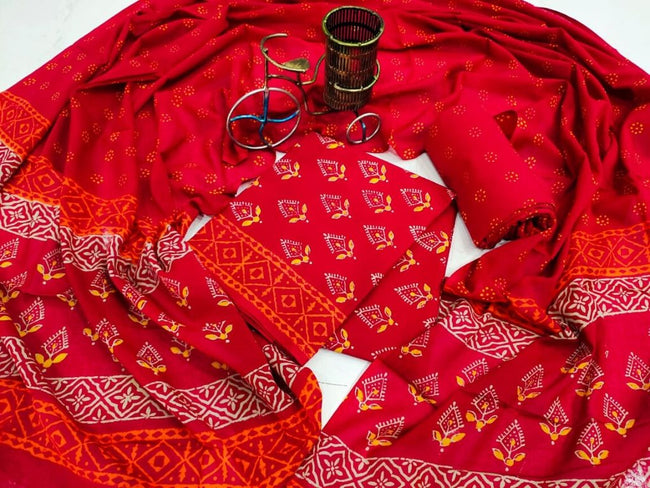 Red Flower Print Cotton Suit Set with Cotton Duppatta