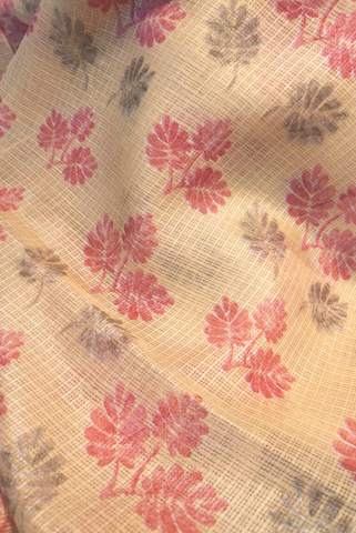 Red Flower with Gold leaves Print Kota Doria Fabric
