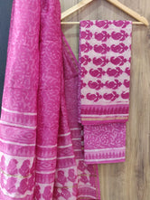 Pink Leaf Print Chanderi Unstitched Suit Set with Cotton Bottom