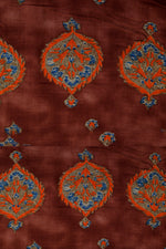 Brown Floral Printed Rayon Fabric