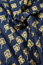 Navy Blue Gold Flower Print Cotton Fabric