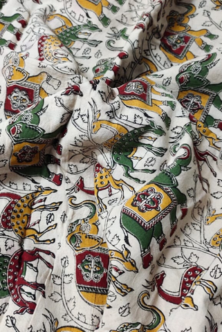 White Animal Print Kalamkari Fabric