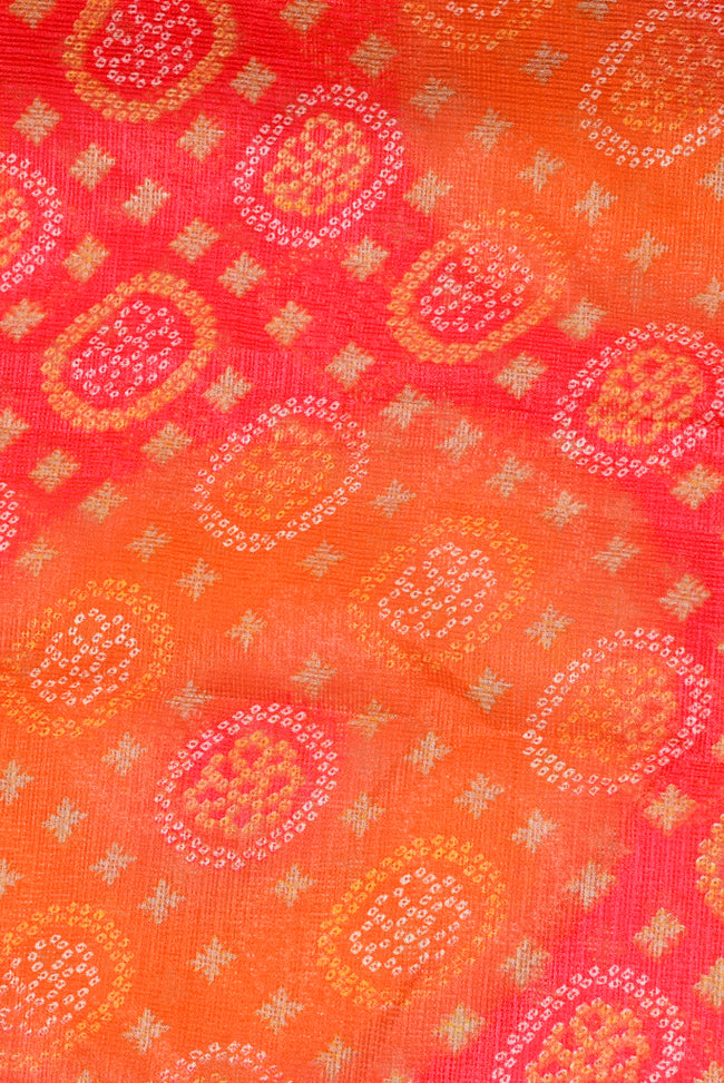 Red & Yellow Printed Kota Doria Fabric