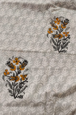 Mountain Mist Grey Flower Print Cotton Fabric