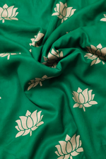 Green Lotus Gold Print Rayon Fabric