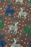 Brown Deer Print Kalamkari Fabric