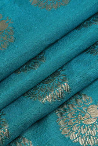 Blue Silver Flower Printed Jacquard Silk Fabric
