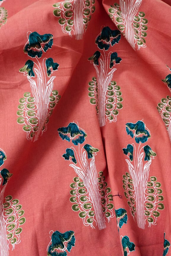 Peach Flower Print Cotton Fabric