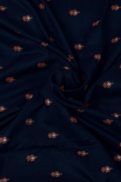 Dark green Flower Printed Cotton Fabric