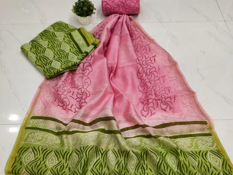 Pink & Green Printed Chanderi Silk Unstitched Suit Set with Chanderi Silk Dupatta