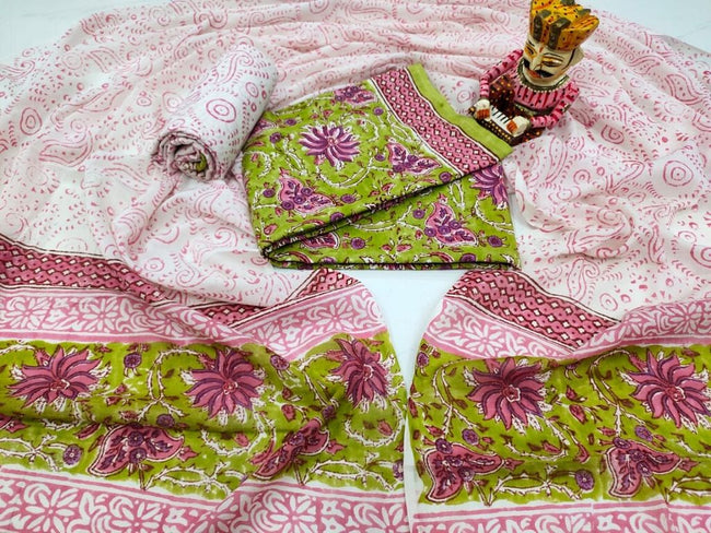 Pink Flower Print Cotton Suit Set with Cotton Duppatta