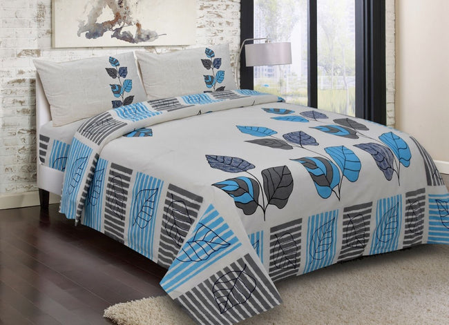 Grey & Blue Leaf Print King Size Cotton Bed Sheet