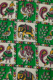 Green Elephant & Peacock Print Kalamkari Fabric