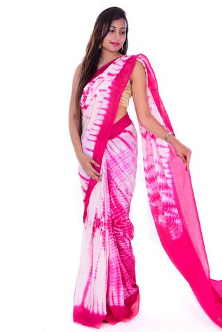 Pink Bagru Handblock Cotton Saree