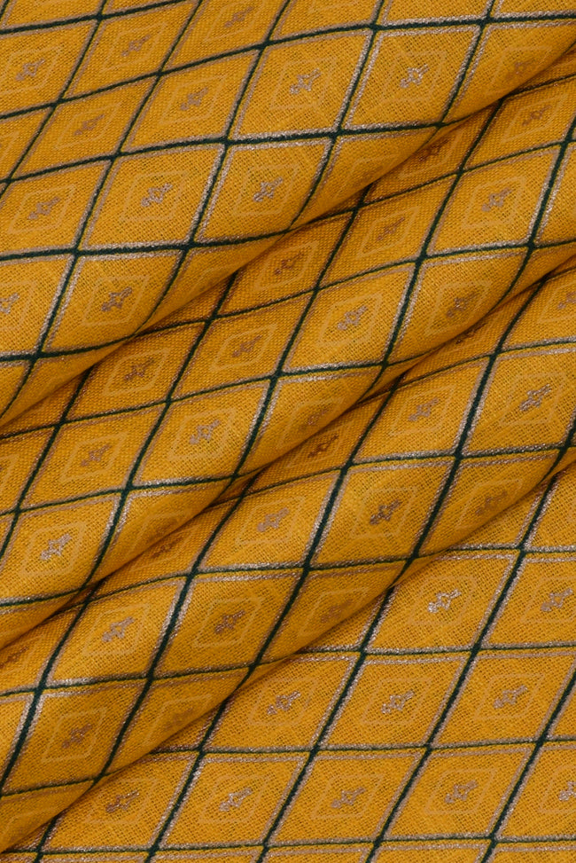 Yellow Cross Stripes Printed Cotton Fabric