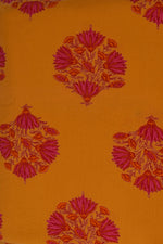 Yellow Flower Printed Cotton Fabric