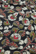 Black Flower Print Kalamkari Fabric