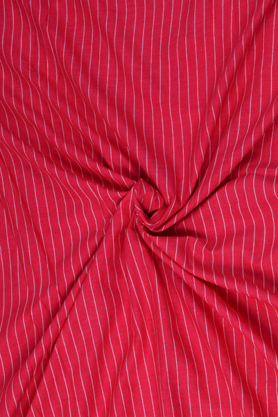 Pink Stripes Print Cotton Fabric