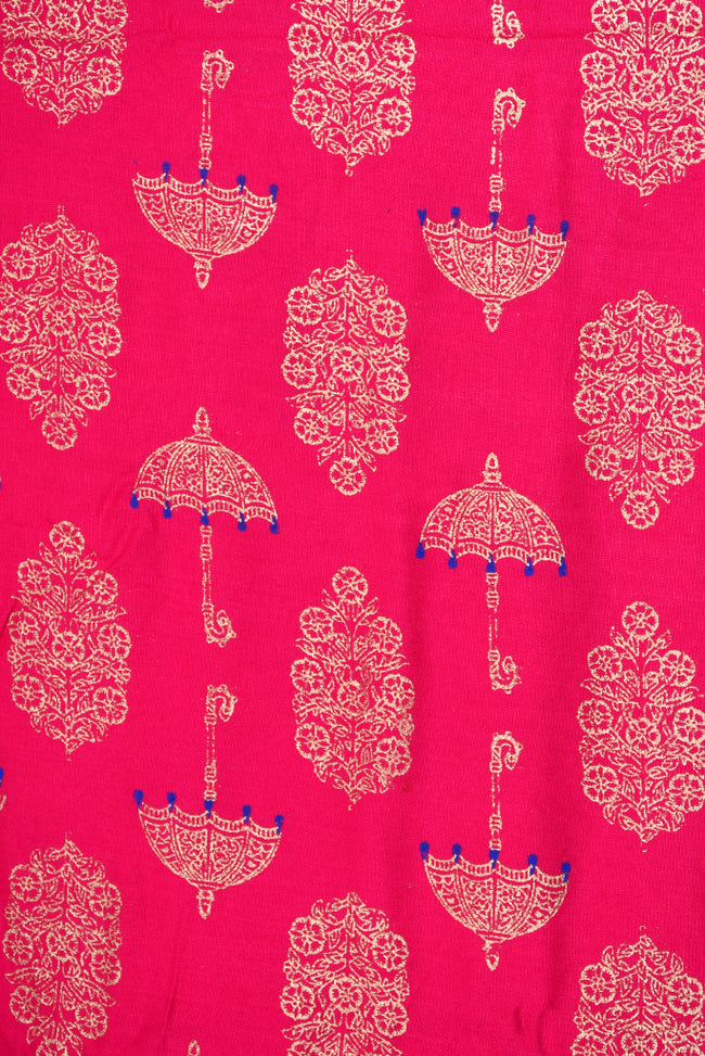 Pink Umbrella & Leaf Printed Cotton Screen Print Fabric