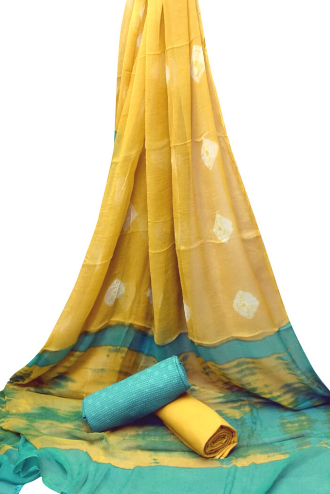 Yellow Printed Unstitched Suit with Chiffon Dupatta