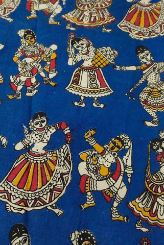 Blue Dancing Girl Print Kalamkari Fabric