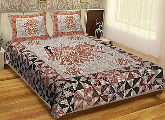 Multi Color Human Print King Size Cotton Bed Sheet