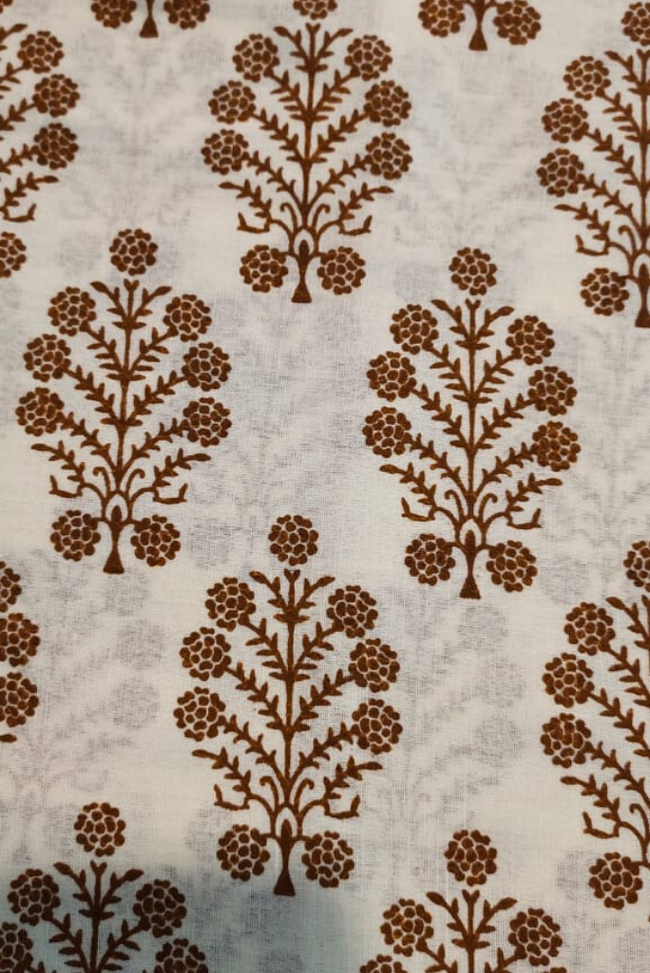 Brown Tree Cotton Fabric