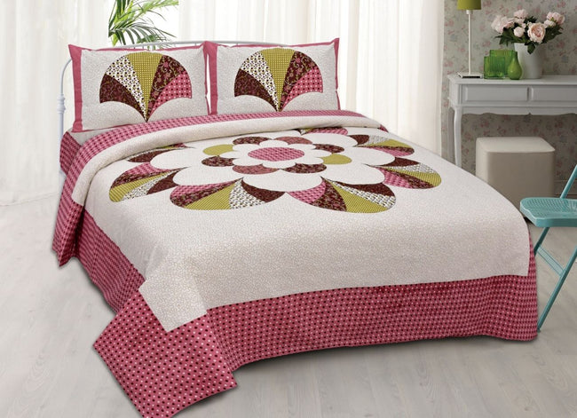 Pink & Cream Printed King Size Cotton Bed Sheet