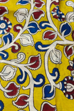 Yellow Leaf Print Kalamkari Fabric