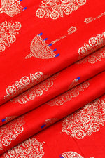 Orange Umbrella Print Screen Cotton Printed Fabric