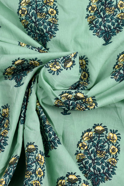 Aqua Tree Print Screen Cotton Printed Fabric