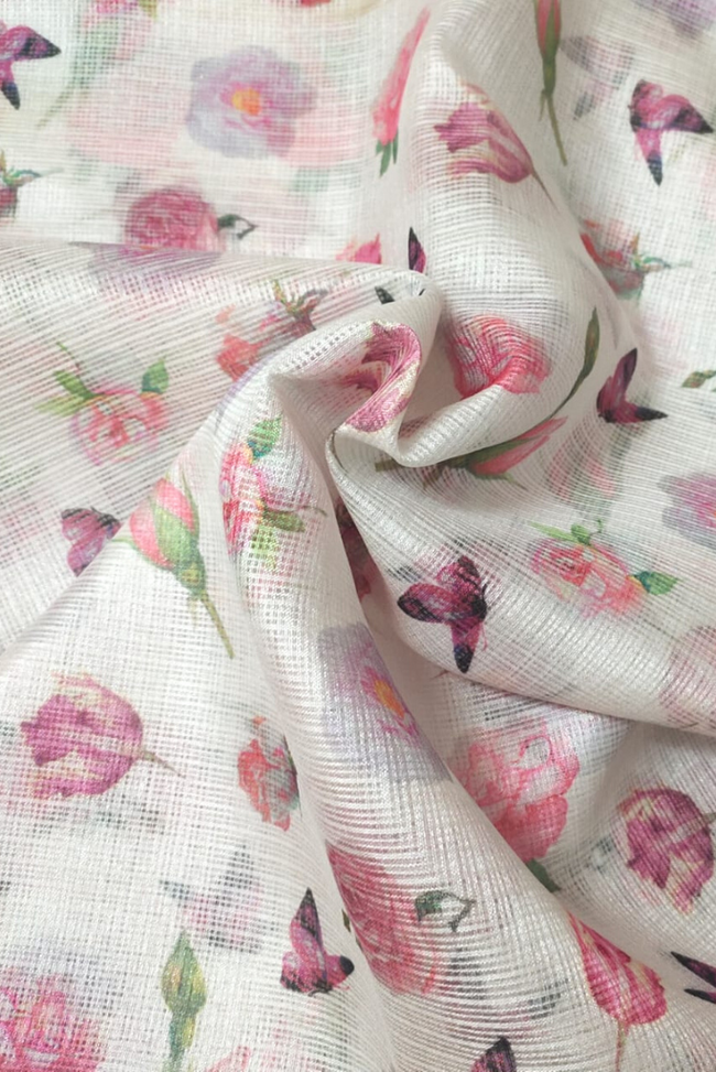 Pink Flower Print Gold Kota Doria Fabric
