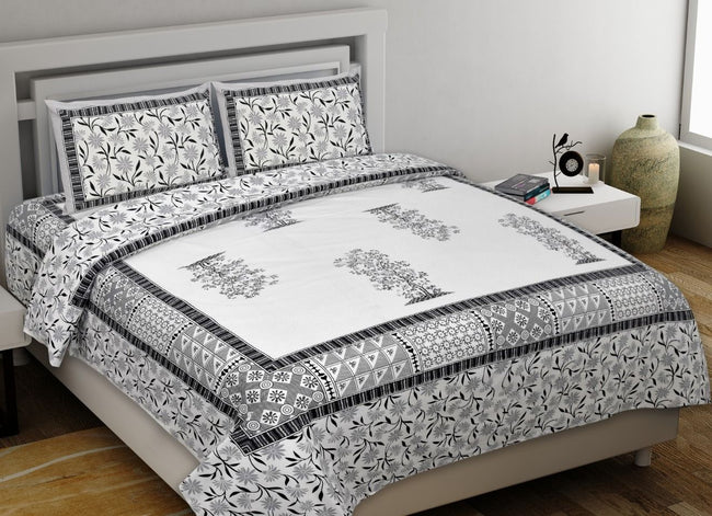 Grey Tree Print King Size Cotton Bed Sheet