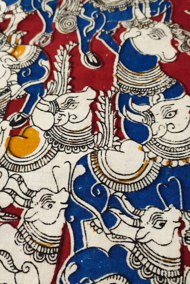 Red & Blue Cow Print Kalamkari Fabric
