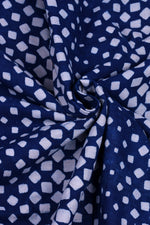 Blue Blue Rectangle Print Indigo Fabric