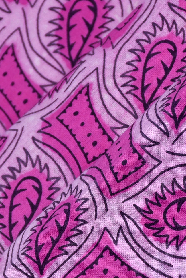 Pink Paisley Print Screen Cotton Print Fabric