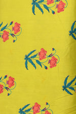 Yellow Flower Print Screen Cotton Printed Fabric
