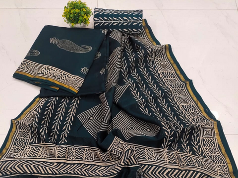 Dark Blue Butta Print Chanderi Silk Unstitched Suit Set with Chanderi Silk Dupatta