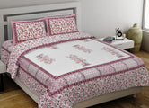 Pink Tree Print King Size Cotton Bed Sheet