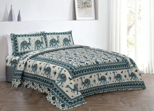 Green Camel Print King Size Cotton Bed Sheet