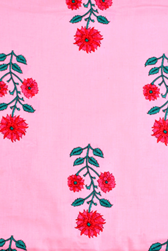 Pink Tree Print Screen Cotton Printed Fabric
