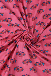 Pink Flower Printed Cotton Fabric