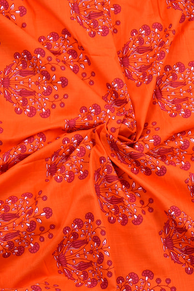 Orange Flower Printed Cotton Screen Print Fabric