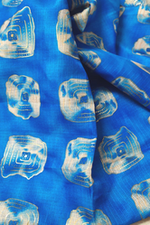 Blue Printed Gold Kota Doria Fabric