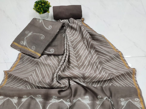Light Grey Printed Chanderi Silk Unstitched Suit Set with Chanderi Silk Dupatta