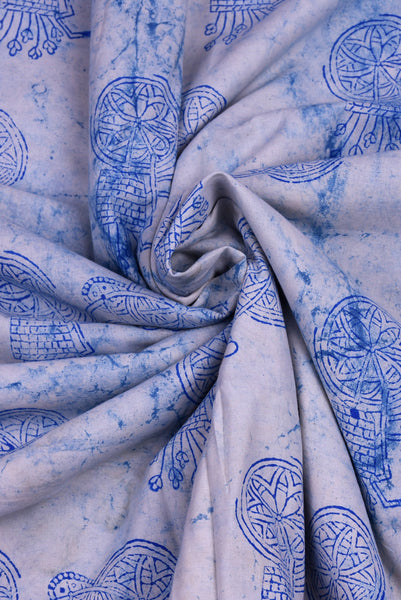 White Bicycle Print Indigo Fabric