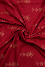 Maroon Flower Print Screen Cotton Printed Fabric