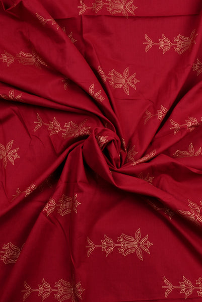 Maroon Flower Printed Cotton Screen Print Fabric